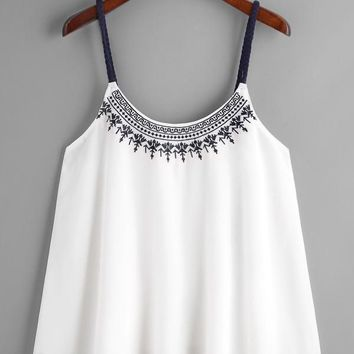 Embroidered Contrast Braided Strap Pleated Cami Top