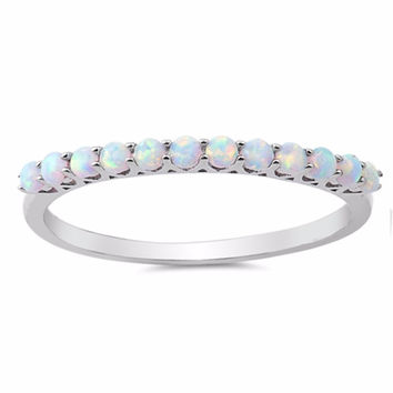 Sterling Silver CZ Lab White Opal Quarter Eternity Ring