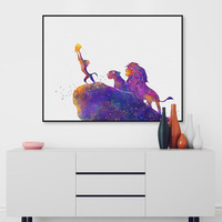 Watercolor Cartoon Pop Movie Animals Lion King Canvas A4 Art Print Poster Wall Pictures Kids Baby Room Deocr Painting No Frame