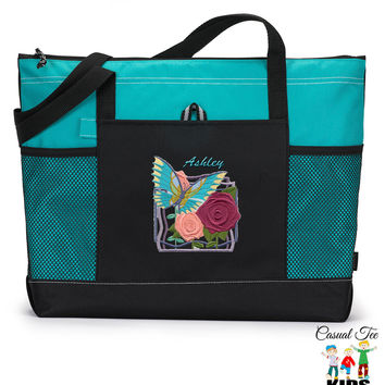 Personalized Embroidered Tote Bag Art Deco Butterfly, Boating, Beach, Nautical, Cruise, Zippered, Mesh Pockets, Embroidered Tote