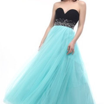 Contrast Sweetheart Tulle Prom Dress With Beading Waistband - OuterInner