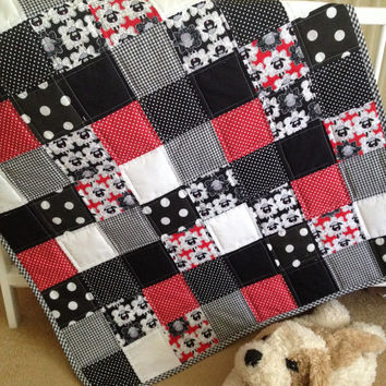 Gender neutral baby quilt~ black white red~ monochrome~ crib quilt~ sheep~ polka dot~ gingham~ cotton baby quilt~ patchwork baby quilt