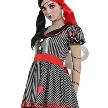 Black & Grey Striped Wind-Up Doll Costume