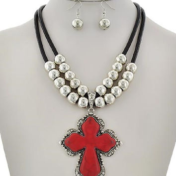 Beautiful Red Stone Cross Necklace