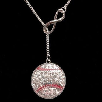 Infinity Crystal Baseball Softball Mom Mother Sports Lariat Style Necklace