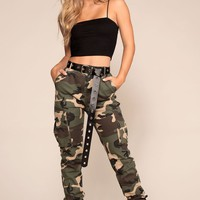 Sneak Attack Highwaisted Camo Cargo Pants