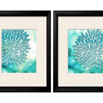 Turquoise Teal, Turquoise Wall Art, Turquoise Home Decor, Dahlia, Floral, Abstract Floral, Mint Green, Home Decor, Summer Art