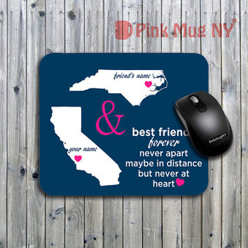 Personalized computer Mouse pad, gift idea, desk accessory - Long Distance Relationship - Best Friends