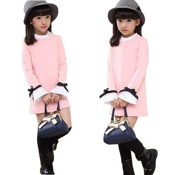 Casual Kids Dresses for Girls 2018 New Spring Cotton Girls Clothes Long Sleeve Children Princess Dress T-shirt Clothing
