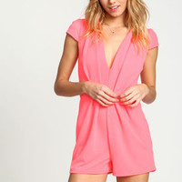 Neon Pink Pleated Plunge Romper - LoveCulture