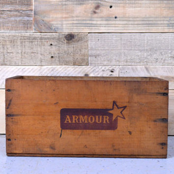 Vintage Wood Box, ARMOUR Brand Wood Box, Wooden Shipping Crate