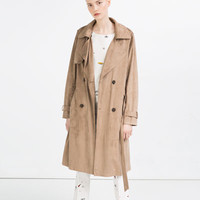 SUEDE EFFECT TRENCH COAT - OUTERWEAR-SALE-WOMAN | ZARA United States