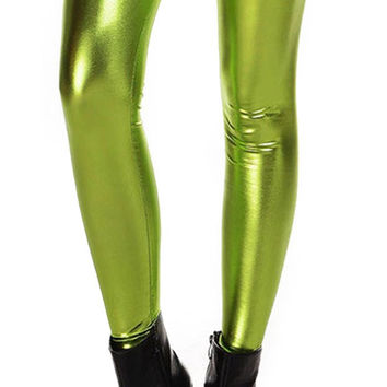 BadAssLeggings Women's Wet Look Liquid Leggings Medium Green