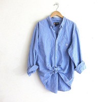 Vintage cotton shirt. Tomboy button down stripe shirt. Boyfriend shirt. Pink and blue Chap's pocket top / XL