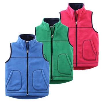 Autumn&Winter Colorful Fleece Kid Vest Waistcoats Children's Waistcoats Kids Sleeveless Jacket Outerwear Boy Girl Vests Coat