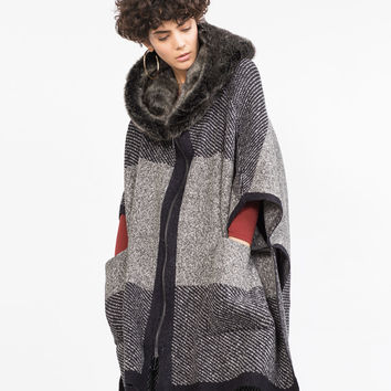 PONCHO WITH FAUX FUR HOOD