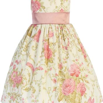 Dusty Rose & Ivory Vintage Floral Print Cotton Spring Dress (Girls 2T - Size 12)