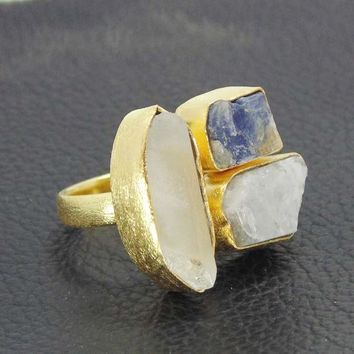 Multi Stone Ring - Handmade Ring - Crystal Quartz Ring - Cocktail Ring - Gemstone Ring - Blue Larimar Ring - Raw Kyanite Ring - Brass Ring