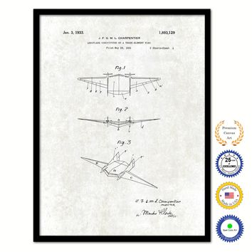 1933 Three Element Wing Airplane Vintage Patent Artwork Black Framed Canvas Print Home Office Decor Great for Pilot Gift