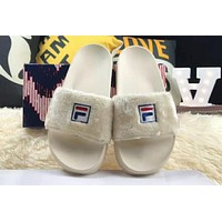 Baja East x Fila Teamwork Fashion Trends Plush Slippers High Quality Shoes F-HAOXIE-ADXJ beige