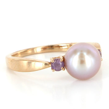 Vintage 14 Karat Rose Gold Cultured Pearl Amethyst Stack Right Hand Ring Estate Jewelry