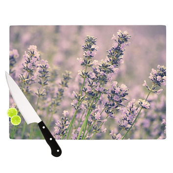 "Robin Dickinson ""Smell the Flowers"" Lavender Green Cutting Board"