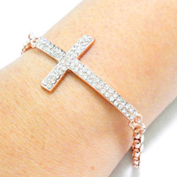 Rose gold plated charm cross friendship bracelet - clear rhinestones sideways cross round chain simple delicate