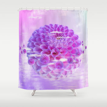 Purple Dahlia Shower Curtain by Knm Designs