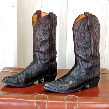 Lucchese 1883 cowboy boots 9.5 D Mens / Black Cherry Ostrich leg leather boots / Exotic leather boots / Handcrafted Texas USA