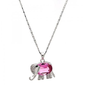 Gold Layered Fancy Necklace, Elephant Design, with Swarovski Crystals and Micro Pave, Rhodium Tone