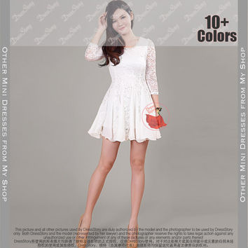 White Lace Chiffon Dress Little Fit And Flare Half