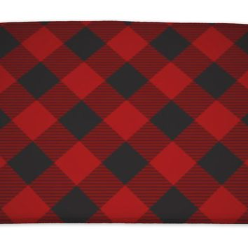 Bath Mat, Lumberjack Plaid Pattern Tilted