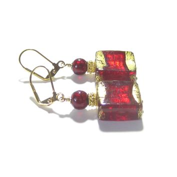 Murano Glass Chunky Red Square Gold Earrings, Venetian Jewelry