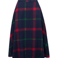 Blue Color Block Plaid Print Wool Midi Skirt