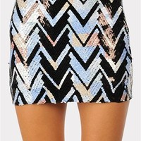 Cool As Ice Zig Zag Skirt - Blue at Necessary Clothing