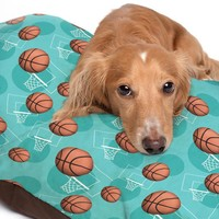 Teal Basketball Themed Pattern Pet Bed - 3 Sizes