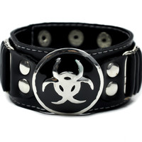 Bio Hazard Industrial Cyber Goth Wristband Metal