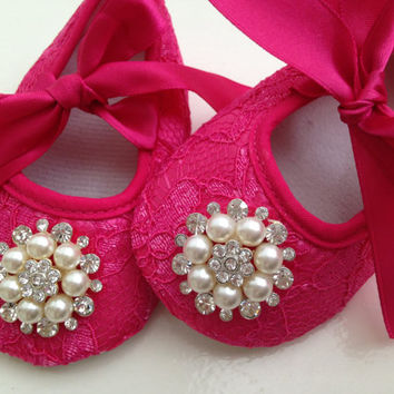 187e23e526067 Hot pink lace baby shoes, newborn pink shoes, rhinestone crib shoes,  ballerina shoes, princess shoes
