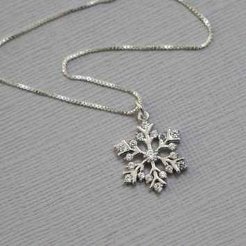 Snowflake Necklace, Snowflake Pendant on Sterling Silver Necklace Chain