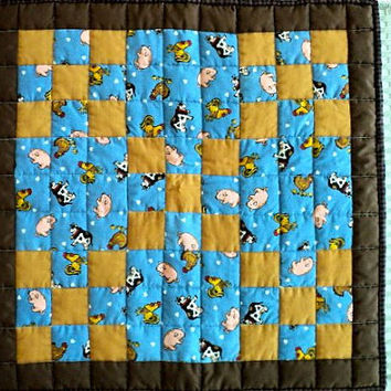 "Farmhouse Irish Chain Quilted Table Topper - Dark Brown, Light Brown and Blue with Farm Animals - 20"" square"