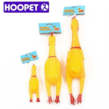 HOOPET Screaming Shrilling Yellow Rubber Chicken Pet Dog Boy Kids Sound Toy Chew S M L