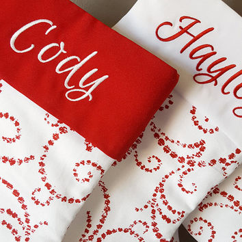 Christmas Stocking, Personalized Christmas Stockings. Christmas Stockings w/ Warm White Red Whimsical Swirl. Embroidered Christmas Stocking