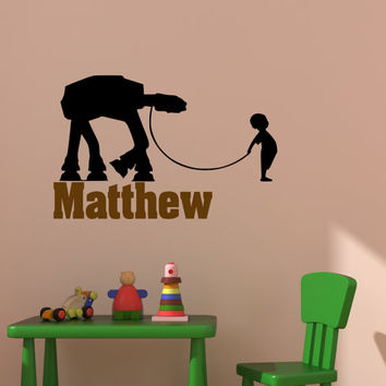 Star Wars Wall Decal Space Ship Robot Droid AT AT Wall Decor Star Wars Battle Room Sticker Boys Bedroom Kids Room Decal Personalized Name