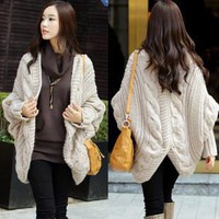 batwing sleeve cloak cardigan twisted sweater cape outerwear