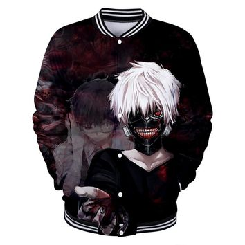 Trendy BTS Harajuku style loose baseball uniform anime Tokyo Ghoul 3D hit men and women baseball uniform tokyo jacket 4XL Casual coat AT_94_13