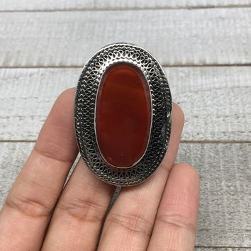 Turkmen Ring Afghan Antique Tribal Oval Red Carnelian Kuchi Ring Statement, TR96