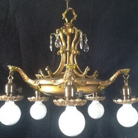Antique Brass Victorian Chandelier with Crystals and Color Accents Original Early 1900s
