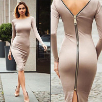Women Slim Zipper One Piece Dress a13075