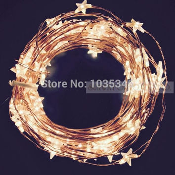 33Ft 100LED Star Copper Wire String Lights LED Fairy Lights Christmas Wedding decoration Lights 12V DC Power Adapter Included