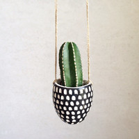 Succulent Hanging Planter - Small Hanging Planter - Black and White Home Decor - Indoor Planter
